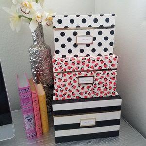 Large Kate Spade Nesting Box, Black & White Stripe